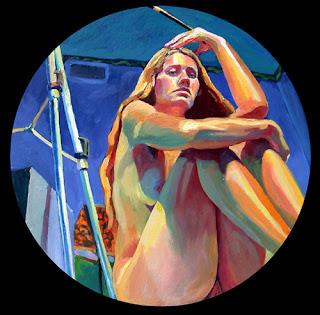 Self portrait nude figurative oil painting of seated figure holding paintbrush
