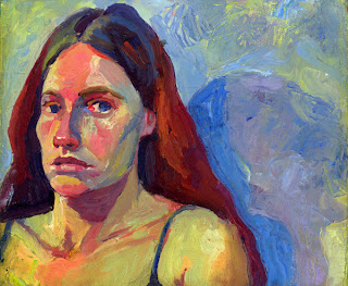 Self Portrait oil painting -head and shoulders with promenent blue shadow