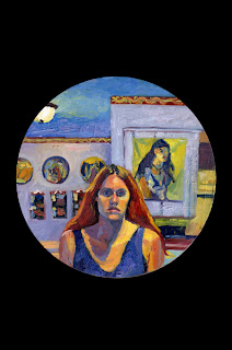Self Portrait oil painting of head, shoulders, and upper torso in front of paintings in purple and blue room