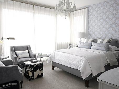 Love of interiors grey and white bedroom for Grey wallpaper bedroom