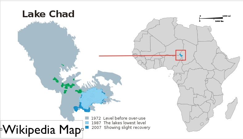 Lake Chad On Map Of Africa.Border Delineation And Desiccation In Lake Chad