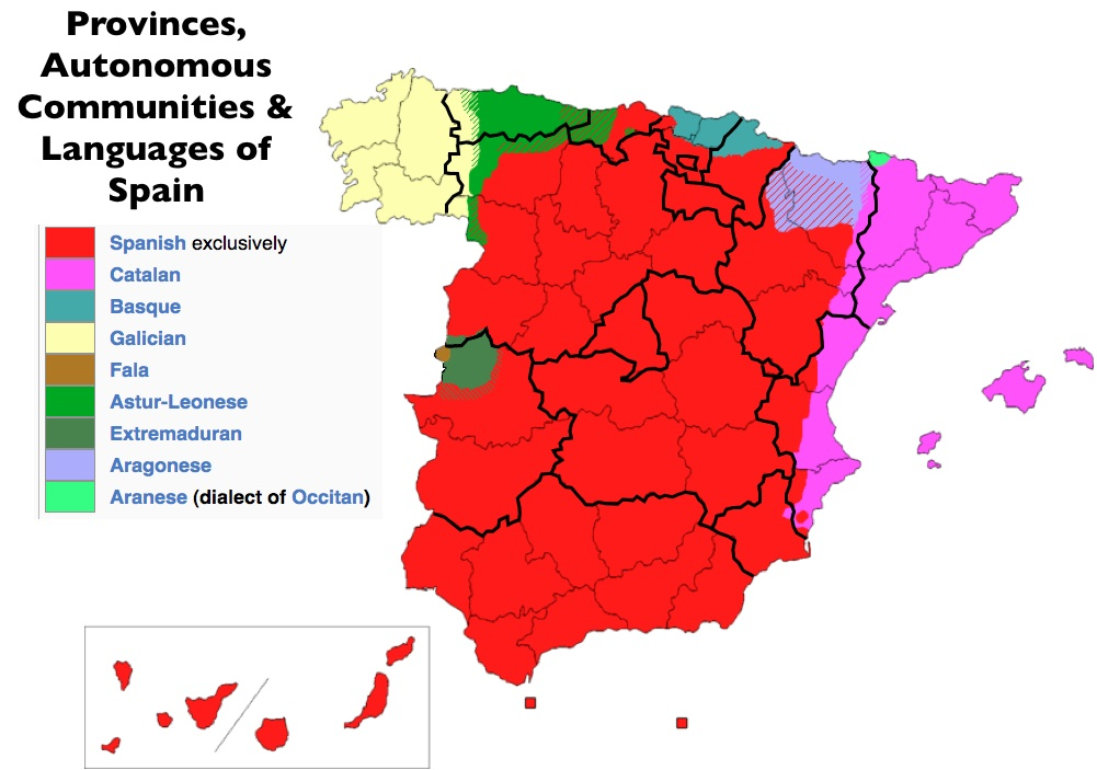 Spain Map Of Languages.Language And Ethnicity Spain Languages Of The World