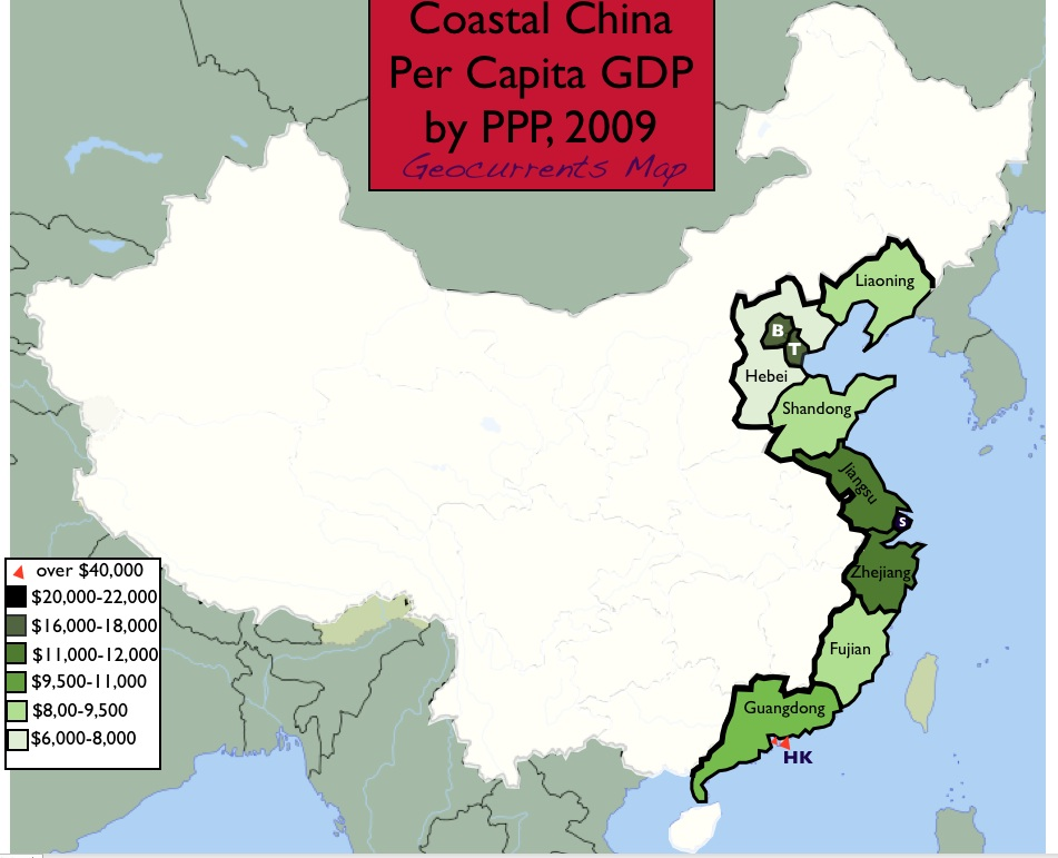 Gap China Map.Mapping Economic Disparities In Coastal China Geocurrents