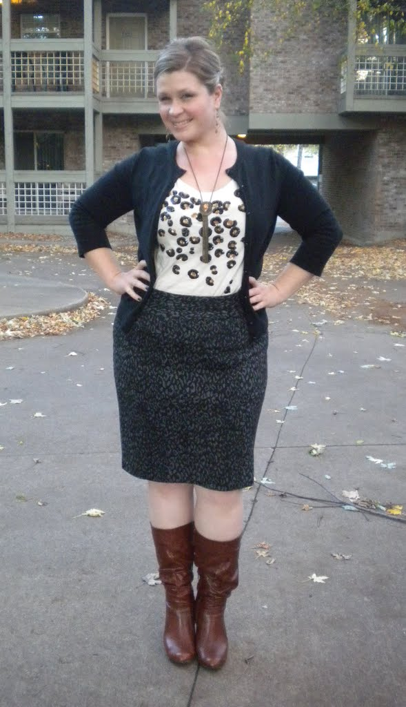 55862ebf481 Sequined animal print tee - Ann Taylor   Black cardi - LOFT   Leopard print  ponte knit skirt - Lane Bryant   Brown boots - Guess (via DSW)   Long  necklace ...