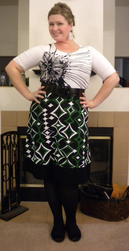 4ef0561a8d9 Printed cardigan - The Limited   Printed A-line skirt - Anne Klien   Wide  black belt - LOFT   Black herringbone tights - Banana Republic   Black