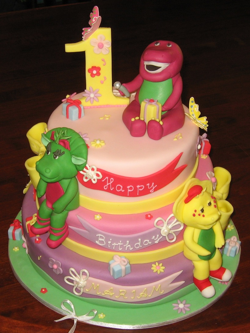 Let Them Eat Cake Three Tier Barney Cake