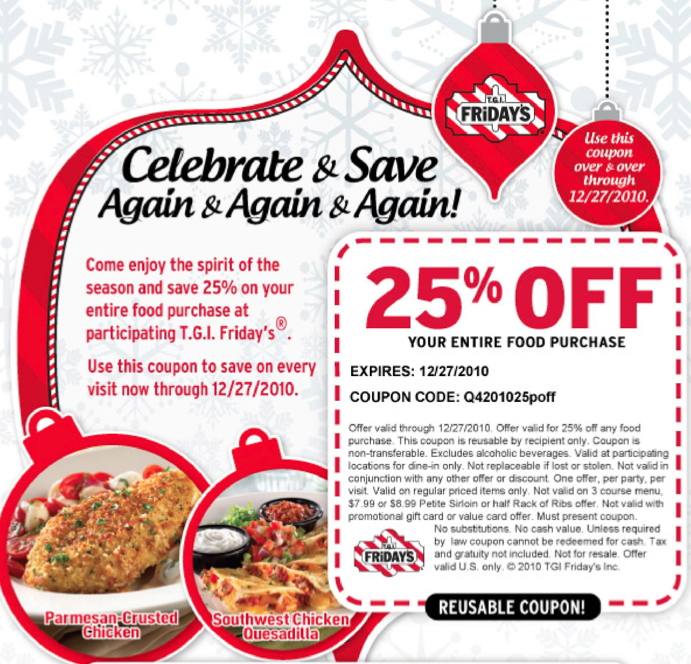 image regarding Tgifridays Printable Coupons titled T.G.I.Fridays Re-Usable 25% Off Printable Coupon!