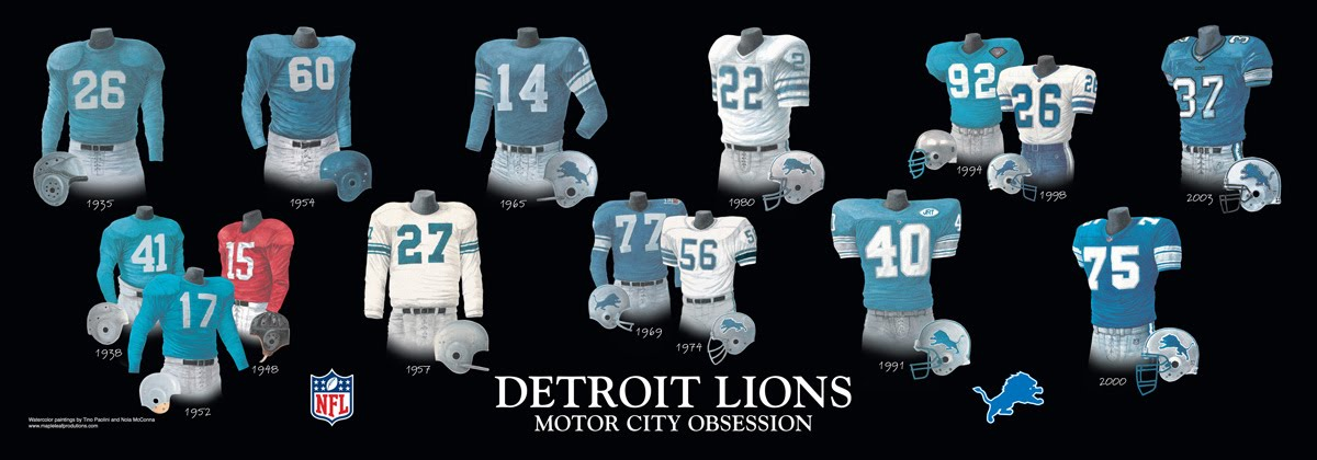 buy popular e697b d3ae5 Detroit Lions Uniform and Team History | Heritage Uniforms ...