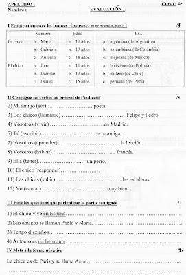 evaluation espagnol 4eme