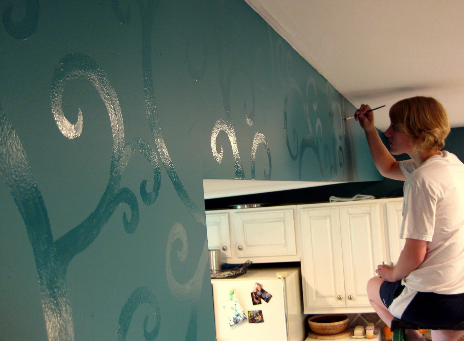 Budget kitchen updates accent wall and faux painted - Matte finish paint for walls ...