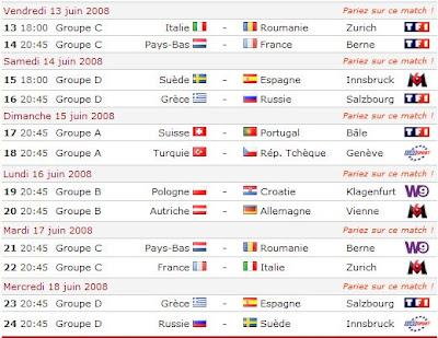 Calendrier Des Match Euro.Maxouell Calendrier De L Euro 2008 Championnat D Europe De