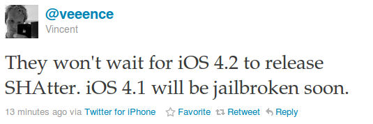 SHAtter Jailbreak for iOS 4.1 will be Released Soon, Not Waiting iOS 4.2
