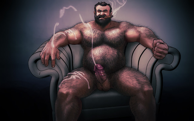 Grant sitting on a sofa chair, left hand clenched, cigar in mouth, as his erect dick explodes in a geyser.