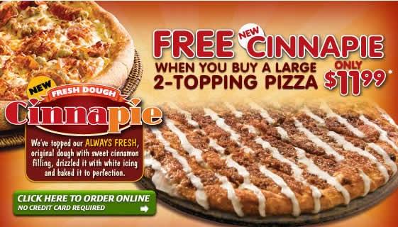 Restaurant Coupons: Papa Jpohns: Free Cinnapie