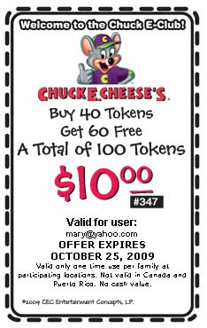 100 tokens for 10 dollars at chuck e cheese