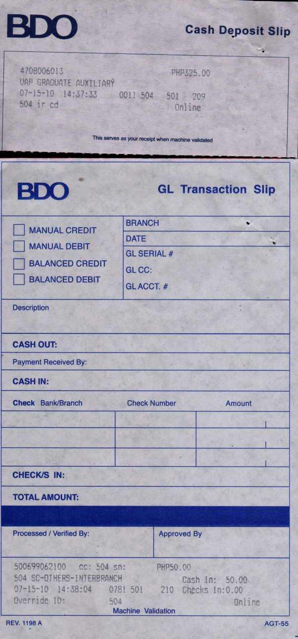 deposit slip online
