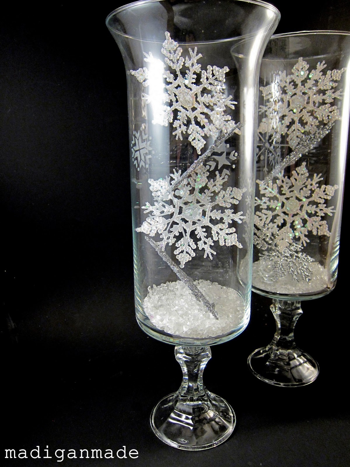 Snowflake Etched Glass Hurricane Vases Rosyscription