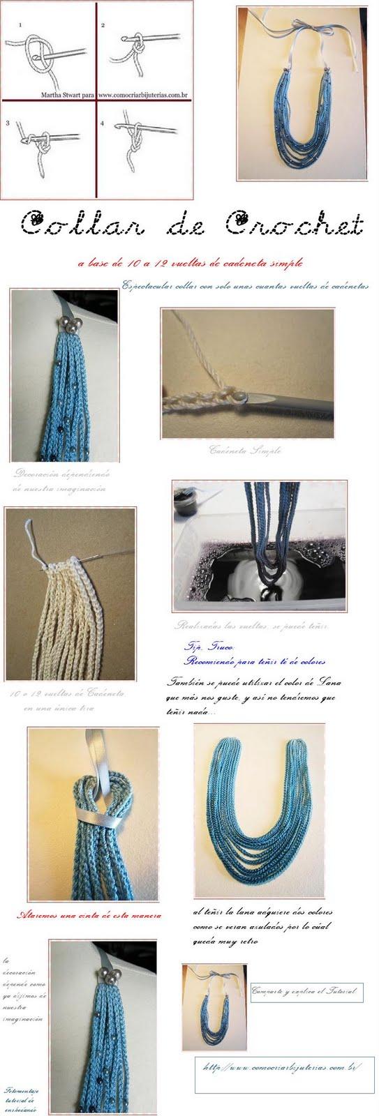 bisutería, tutoriales, cadenetas, crochet, collar, pulseras