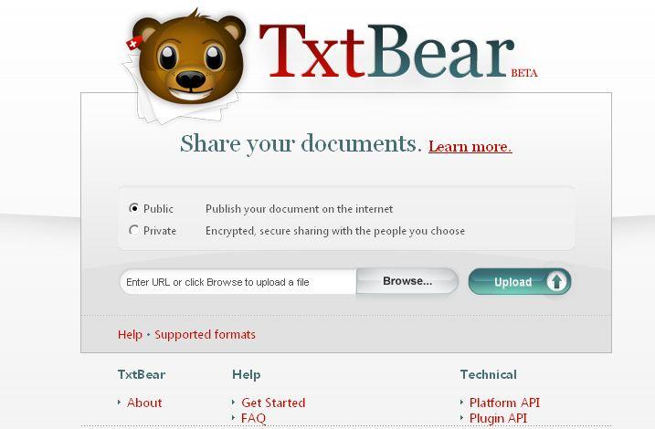 TxtBear, compartir, documentos, online, herramientas