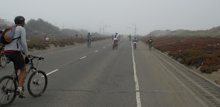San Francisco Sunday Streets - cyclists in the foggy Outer Sunset