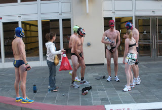 half naked people at Bay to Breakers in San Francisco