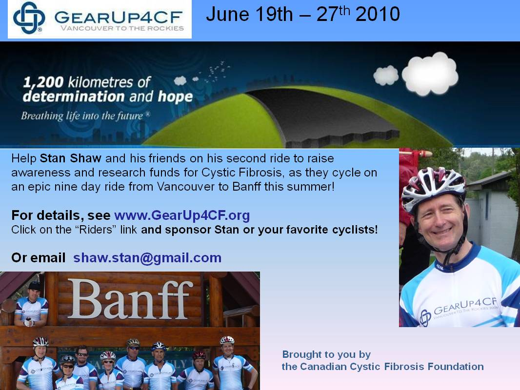 Our GearUp4CF 2010 Rider's Journal: April 2010