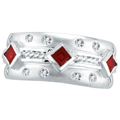 Antique Style Diamond Ruby Ring