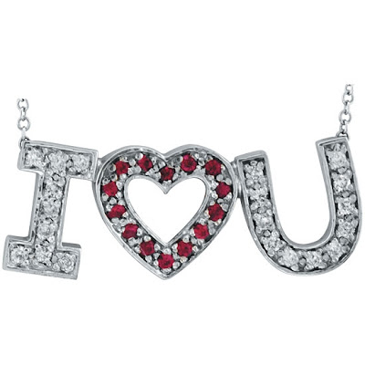 Pink Sapphire I Love You Pendant