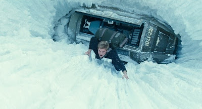 Kirk getting out of a hole in the snow - Star Trek Movie