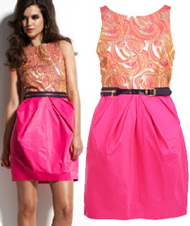 This Unique Pink And Orange Bridesmaid Dress Features The Clever Use Of Some Brocade A Zip Trim Belt Nod To Versace You End Up With An Upscale