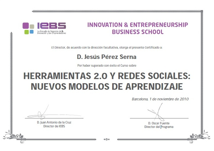 Certificado del Curso Herramientas 20 y Redes Sociales Marketing - modelos de certificados
