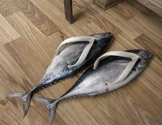 ikan dibuat seperti sandal