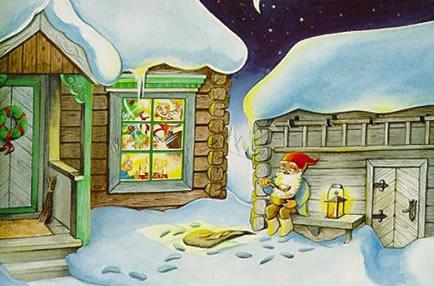 casas con nieve , ilustraciones y postales navidad