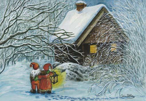 papa noel llegando a casa neva, ilustraciones navidad