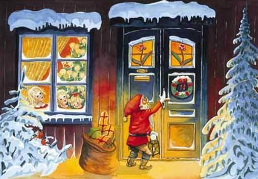postales navidad, niño papá noel abriendo una puerta