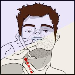 Pescoço barbear queimadura de no
