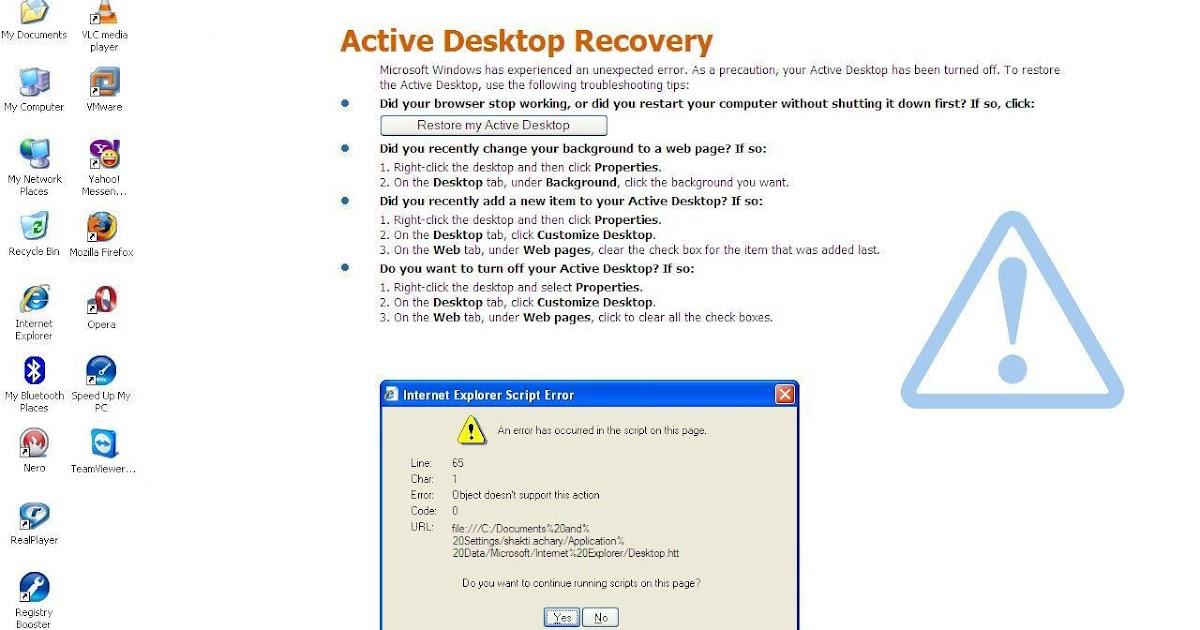 Active Desktop Ie Script Error