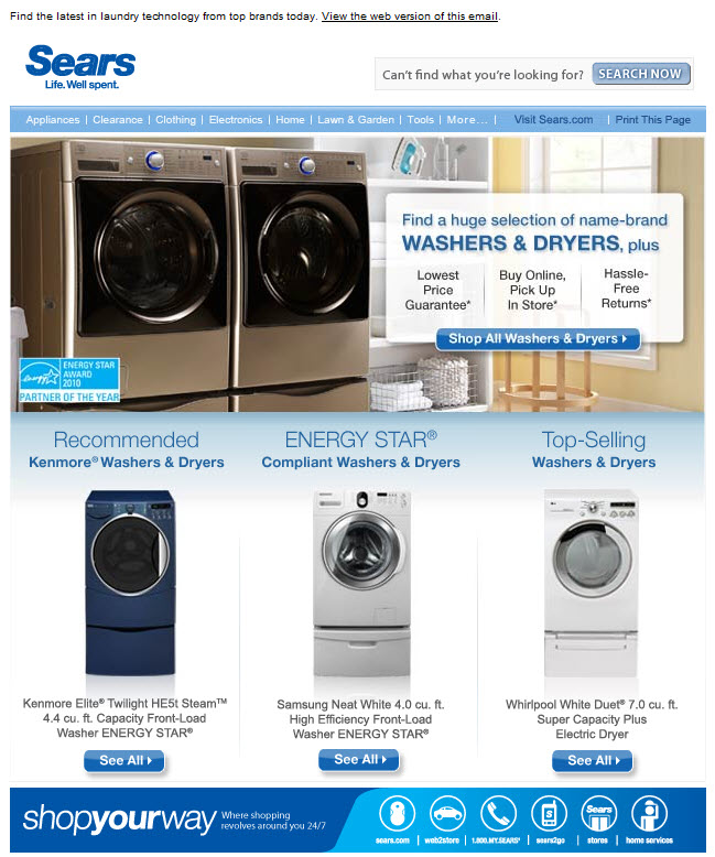 AM Inbox: Subtle browse-based email from Sears | Oracle Marketing Cloud