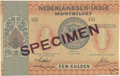 Dua contoh variasi pecahan 1 gulden SPECIMEN
