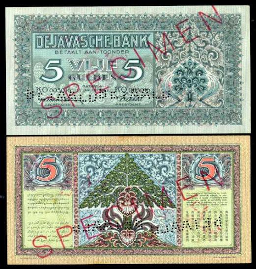 Pecahan 5 gulden 1942 SPECIMEN