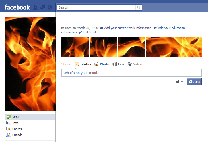 Cool Facebook Profile: 29 - Fire - Cool Facebook Profile