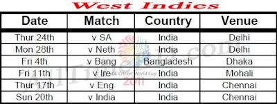 West Indies ICC cricket world cup 2011 match schedule