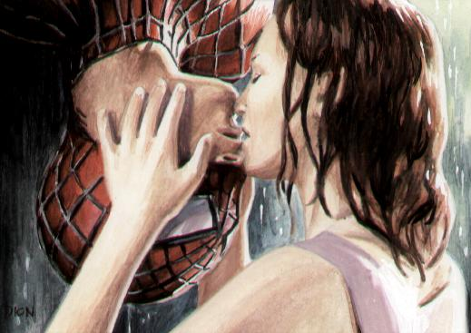 Dion Hamill Art Mary Jane Kissing Spiderman