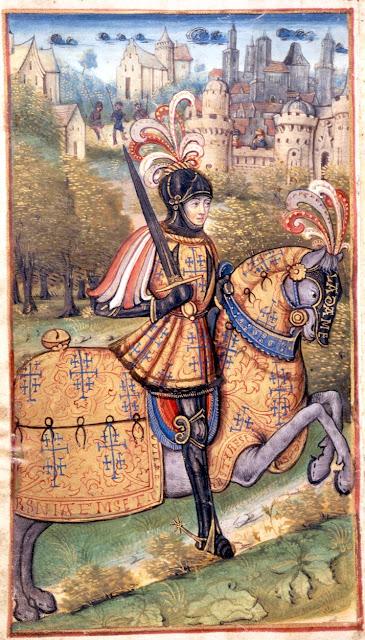 """""""Le duc René II à la bataille de Nancy, 5 janvier 1477""""  Miniature du manuscrit """"La Nancéide"""" de Pierre de Blarru. Fin XVe siècle."""