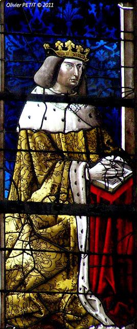 Vitrail montrant René II en prière  Œuvre attribuée à Valentin Bousch  Basilique de Saint-Nicolas de Port