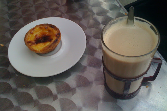 little custard tarts and coffee in Café Lisboa, Portobello, london