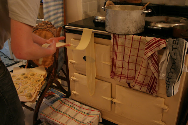 Laying out the ravioli to dry, some even on the Aga