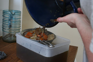 Straining the mushroom stock