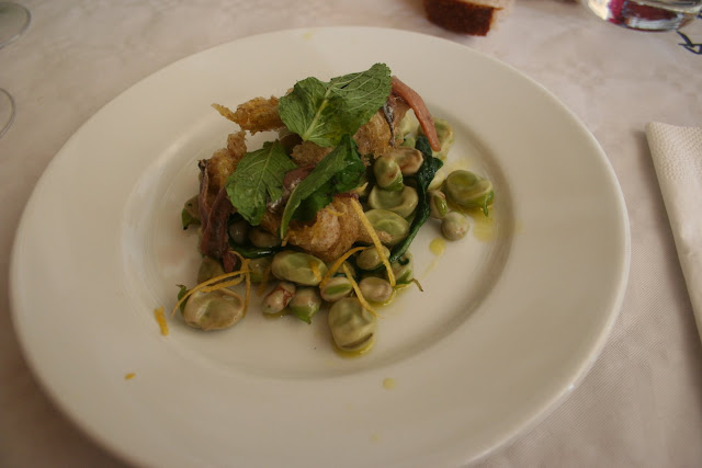anchovy, broad bean, lemon zest and mint salad