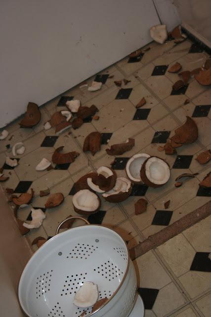 Smashing coconuts...